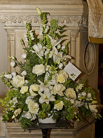 Floral tribute for Richard Adams in All Hallows Church