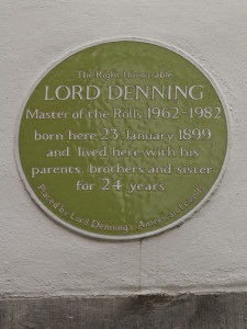 A memorial to Lord Denning given by his American friends