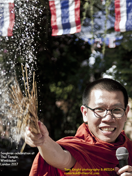 Thai monk gives a blessing