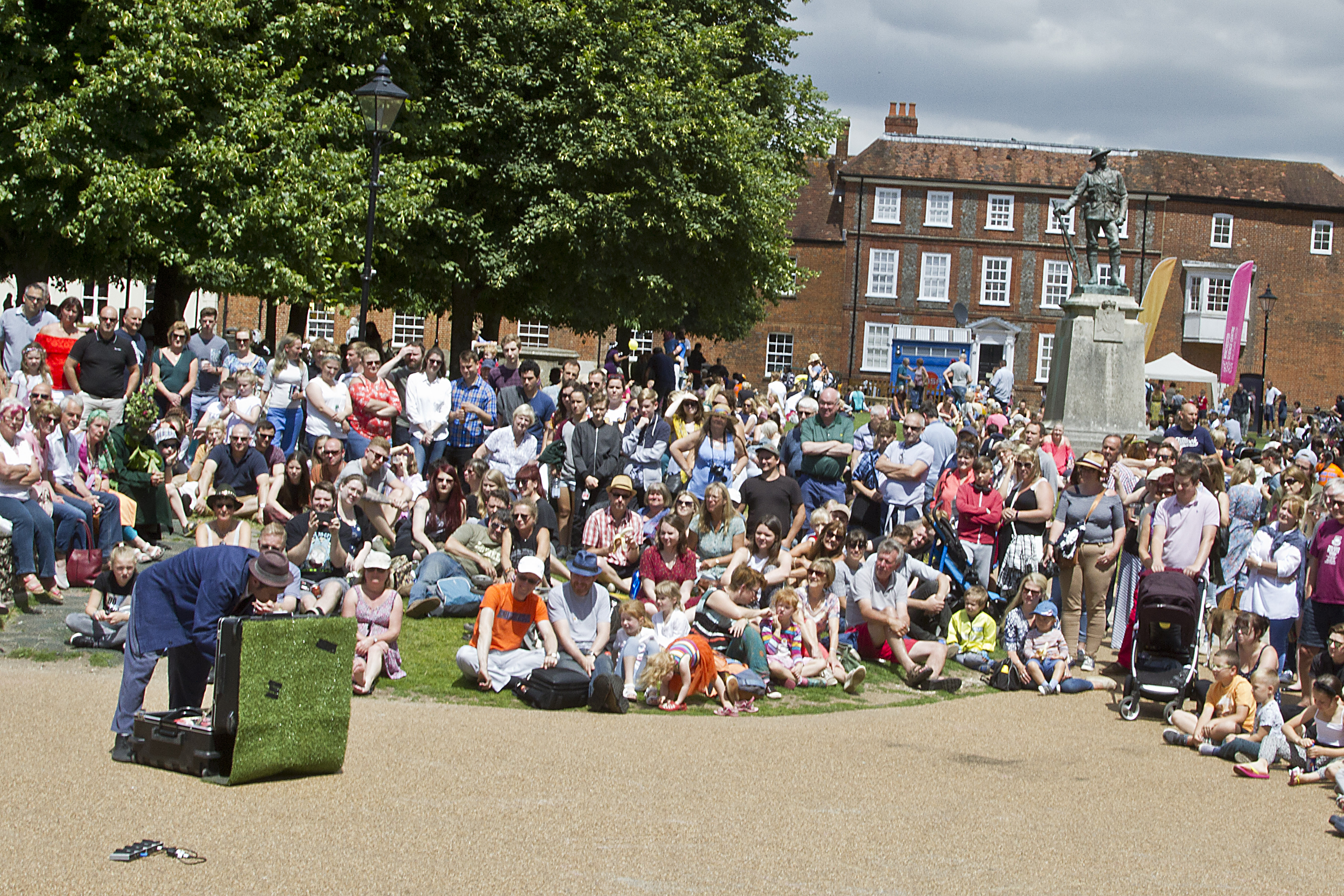 Crowds join in the fun outside the west front of Winchester Cathedral