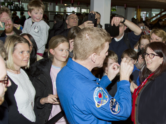 British astronaut Major Tim Peake meets the audience after his freedom presentation.