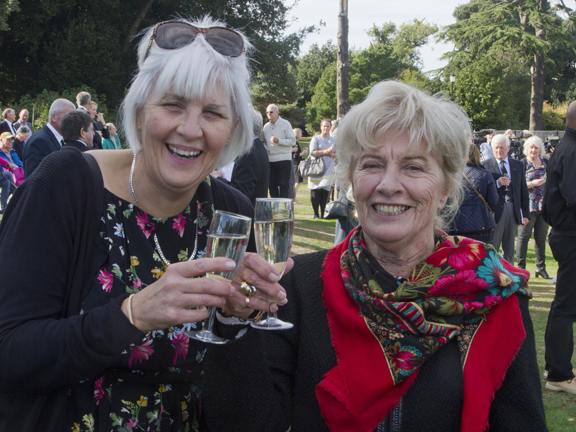 A Toast to Mary. Mary's nieice, Rosemary Martin is on the right of the photograph.