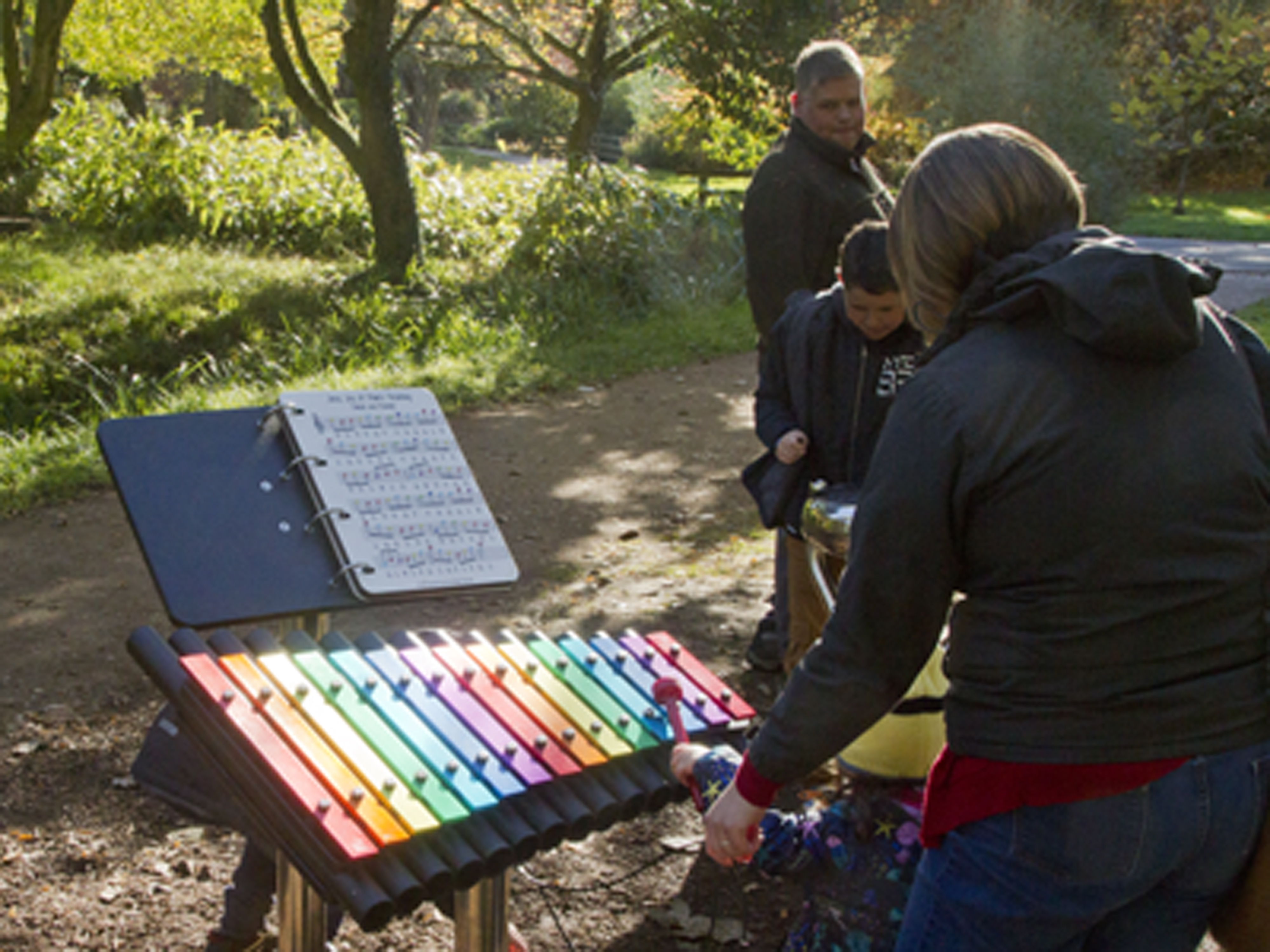 With sun low in the sky in late October 2018, music wafted through the trees. In the pre-Halloween trail for children and adults, with an open invitation to make the music themselves.