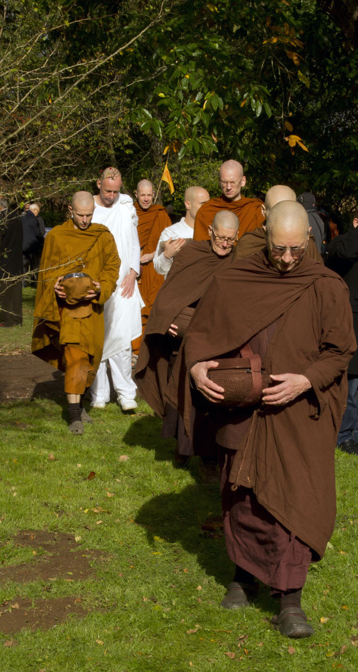 Monks enter the Dhama Hall