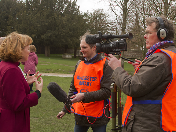 Rotary membe, professional videographer Steve Feeney films and interview with the Dean of Winchester, The Very Rev'd Catherine Ogle.